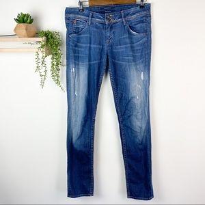 Hudson distressed straight leg jean size 28